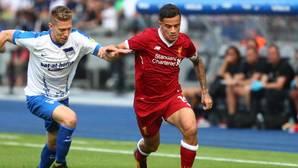 Coutinho en un partido del Liverpool frente al Hertha Berlin