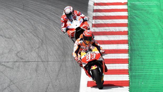 Dovizioso y Márquez, en el circuito de Spielberg del GP de Austria