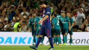 Messi, cariacontecido tras un gol del Madrid en la Supercopa