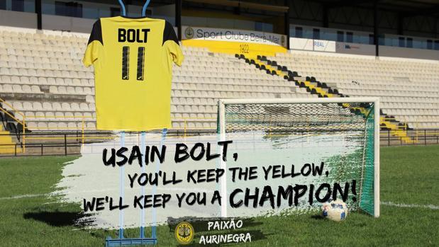 Camiseta con el dorsal de Bolt en el estadio del equipo portugués