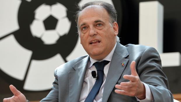 Javier Tebas, durante un evento de la Liga de Fútbol Profesional