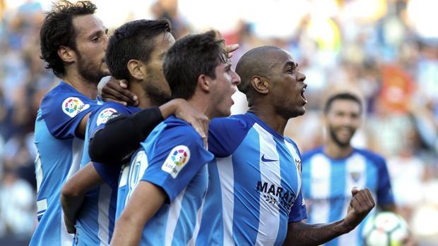 Rolán y sus compañeros del Málaga