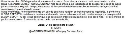 El acta del Lleida-Atlético Saguntino