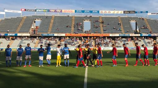 Lleida y Atlético Saguntino, este domingo antes del partido