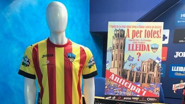 La camiseta cuatribarrada que quería vestir el Lleida contra el Saguntino