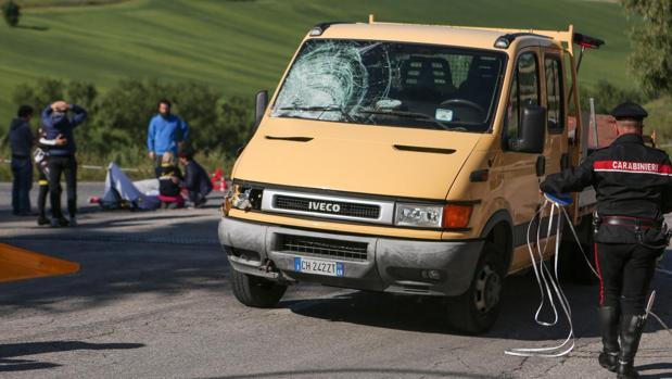 Estado en el que quedó el vehículo que atropelló a Scarponi