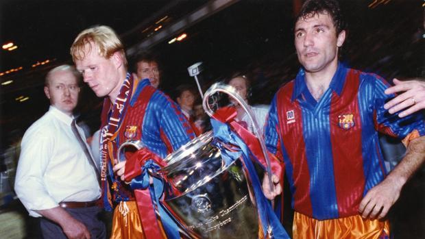 Stoichkov y Koeman tras ganar la Copa de Europa en 1992
