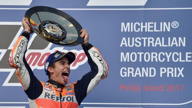 Marc Márquez, en el podio de Australia