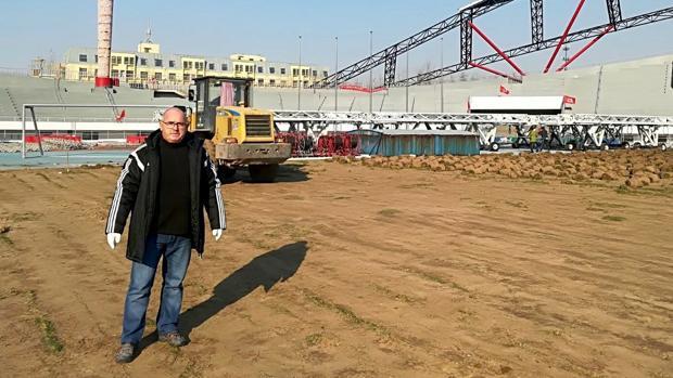 Benito Mateo, en las instalaciones del Hebei Fortune, su nuevo equipo en China