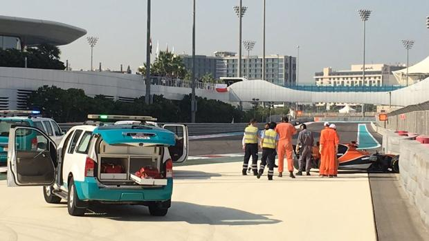 Imagen del McLaren accidentado en los test de Abu Dabi