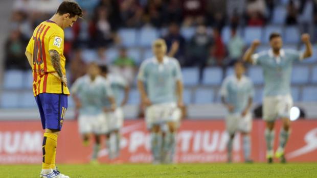Messi, cariacontecido en Vigo en la derrota que sufrió el Barcelona en 2015 ante el Celta