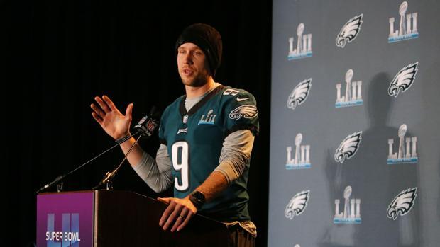 Nick Foles durante una rueda de prensa previa a la Super Bowl