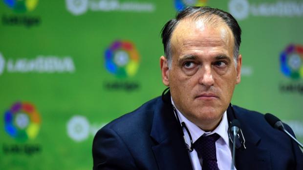 Javier Tebas durante un acto de la Liga en 2015