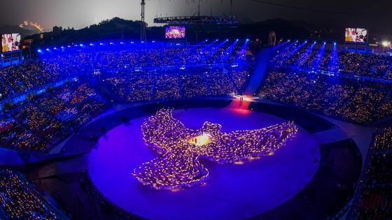 Paloma simbolizando la paz en mtiad del estadio