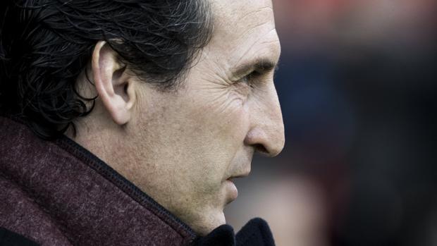 Unai Emery durante el partido contra el Estrasburgo este fin de semana
