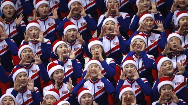 La afición de Corea del Norte durante los Juegos Olímpicos