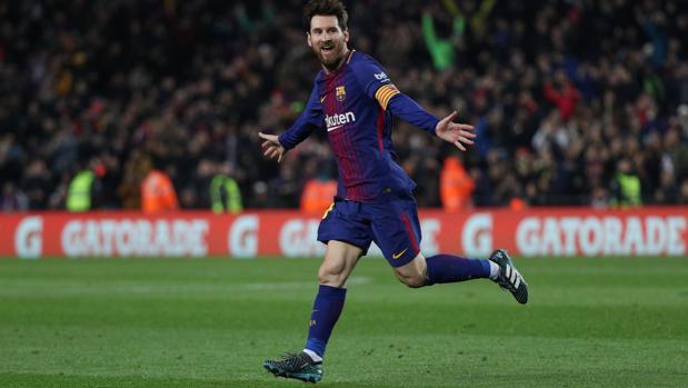 Messi celebra uno de sus goles contra el Gerona
