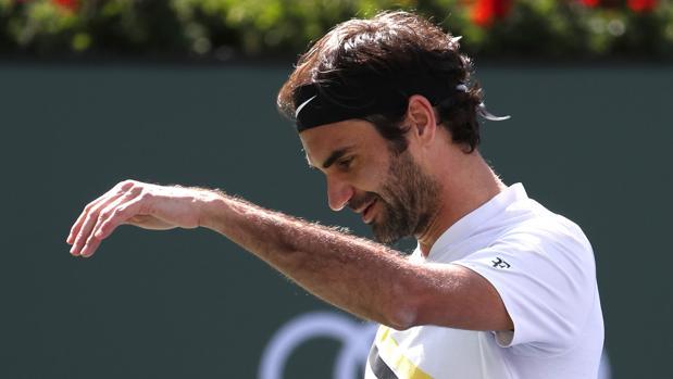 Roger Federer, durante la final de Indian Wells ante Del Potro