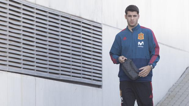 Álvaro Morata, en la Ciudad del Fútbol de Las Rozas