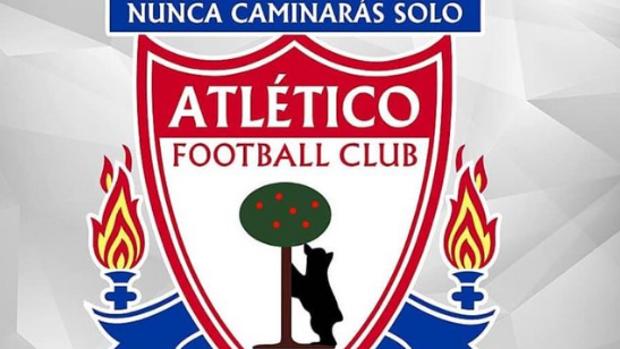 Montaje entre el escudo del Liverpool y el del Atlético