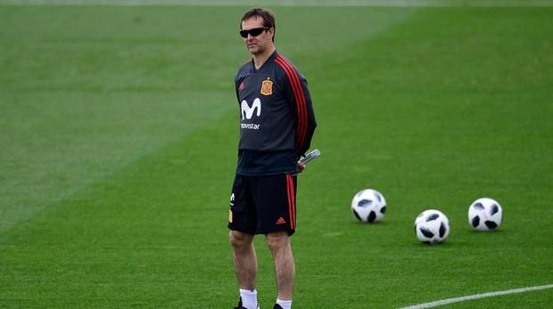 Julen Lopetegui, durante un entrenamiento de la selección española