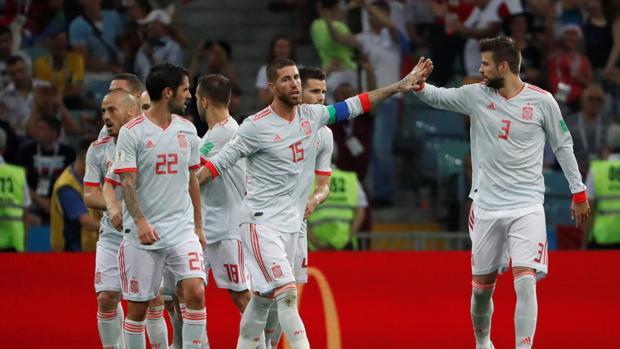 España celebrando uno de sus goles en el partido del Mundial de Rusia 2018 ante Portugal