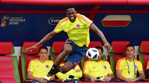 Yerry Mina durante un entrenamiento de la selección colombiana