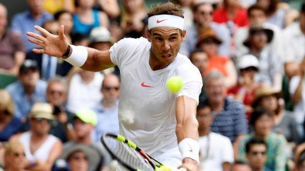 Rafael Nadal durante su partido de cuartos de final ante Del Potro