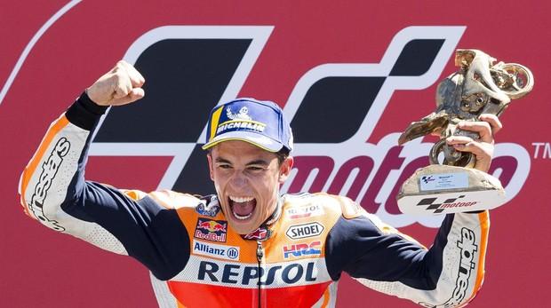 Márquez, tras haber conquistado el título del Gran Premio de Holanda 2018