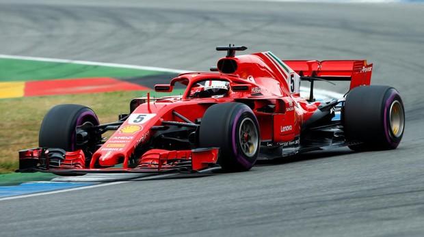Vettel, durante la clasificación del GP de Alemania
