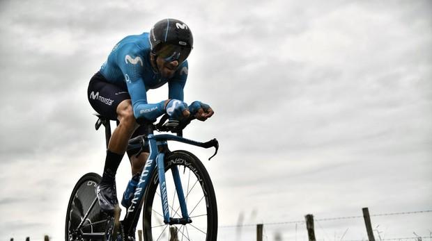 Valverde, de Movistar, durante una de las etapas del Tour de Francia