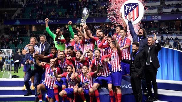 El Atlético de Madrid celebra la conquista de la Supercopa de Europa 2018