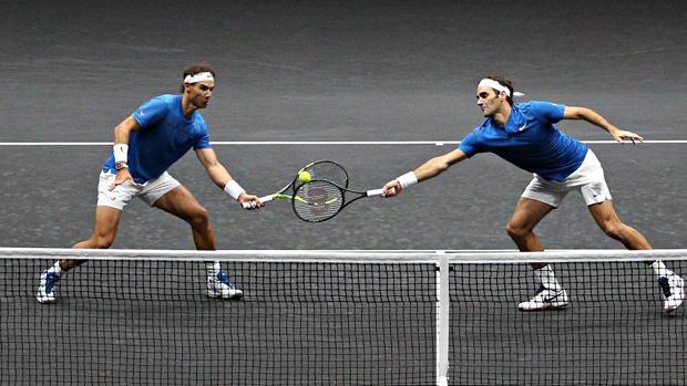 Nadal y Federer durante la Laver Cup en 2017