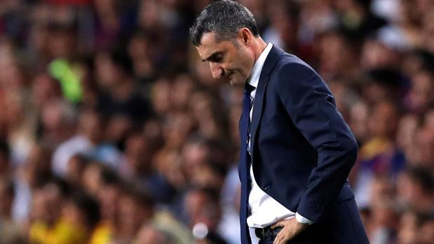 Ernesto Valverde durante el partido ante el Gerona