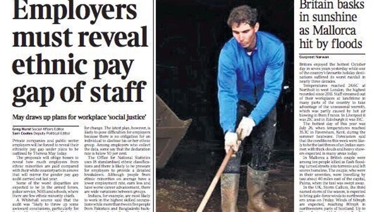 Rafael Nadal, portada del diario 'The Times' por su ayuda en las inundaciones de Mallorca
