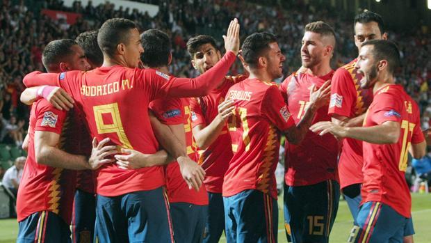 La selección española, en el duelo ante Croacia en Elche