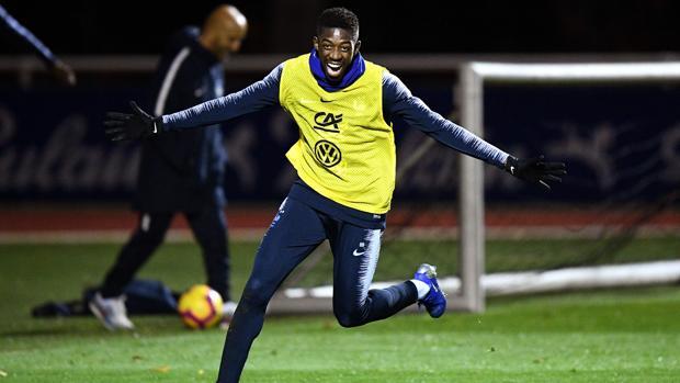 Ousmane Dembélé en un entrenamiento de la selección francesa