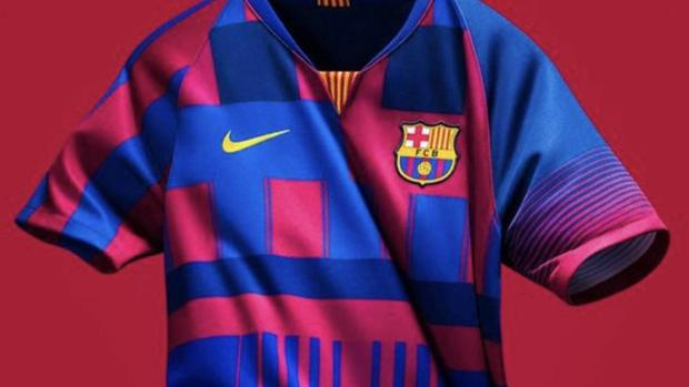 e4b4ea8013 Nike ha sorprendido hoy a los aficionados del Barcelona al presentar un  nuevo modelo de camiseta conmemorativo por los veinte años que lleva  vistiendo al ...