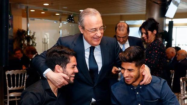 Florentino, con Isco y Asensio