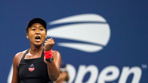 Osaka celebrando el pase a la final del US Open