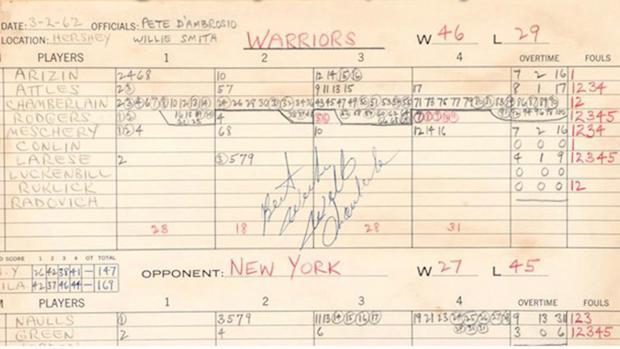 El acta del partido en el que Wilt Chamberlain firmó 100 puntos