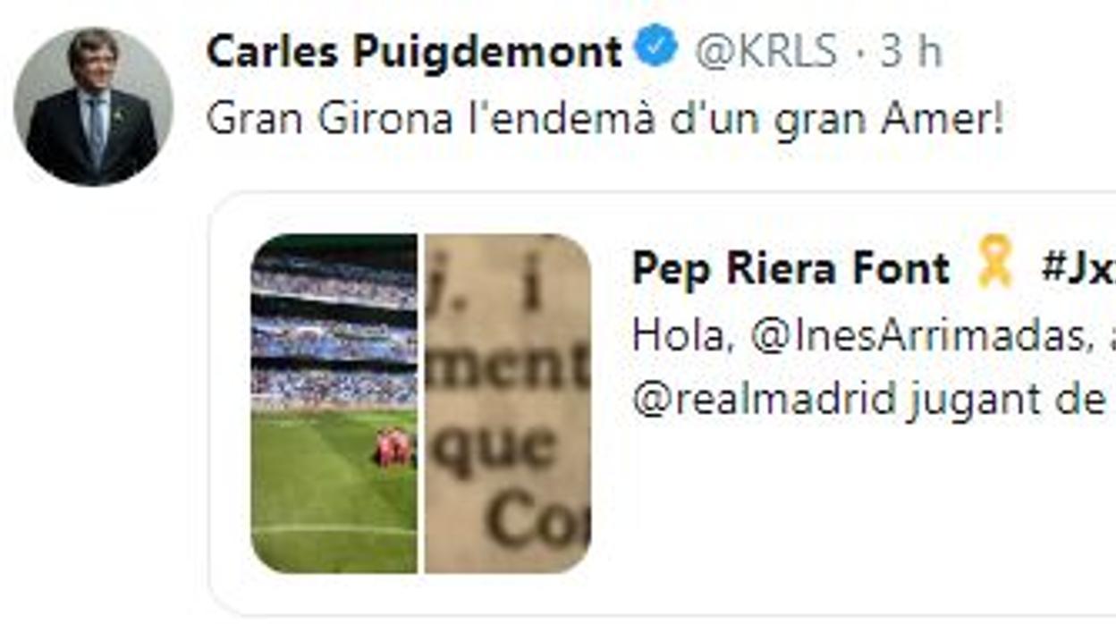 El incendiario mensaje de Puigdemont tras la victoria del Girona ante el Real Madrid