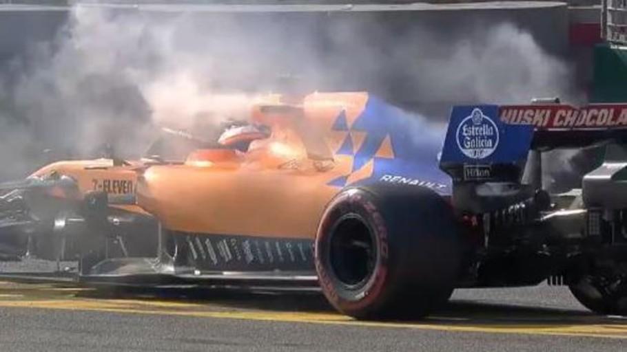 Carlos Sainz abandonó en Australia con el McLaren en llamas