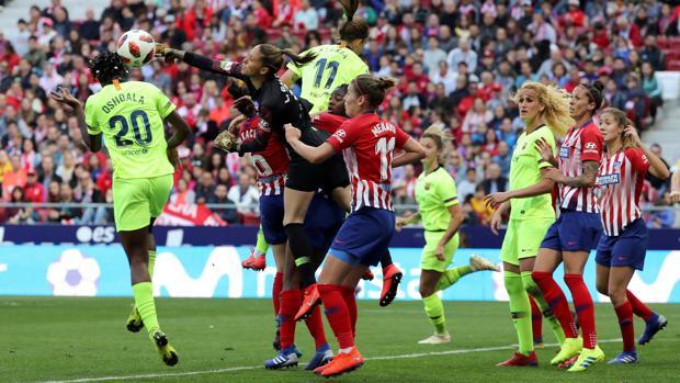 Un momento del partido Atlético-Barcelona, en el Wanda Metropolitano