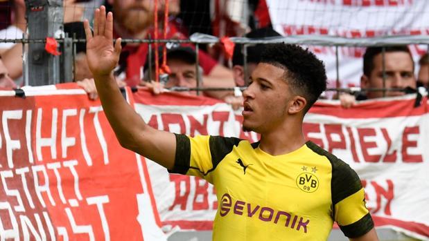 Sancho, en un partido del Dortmund