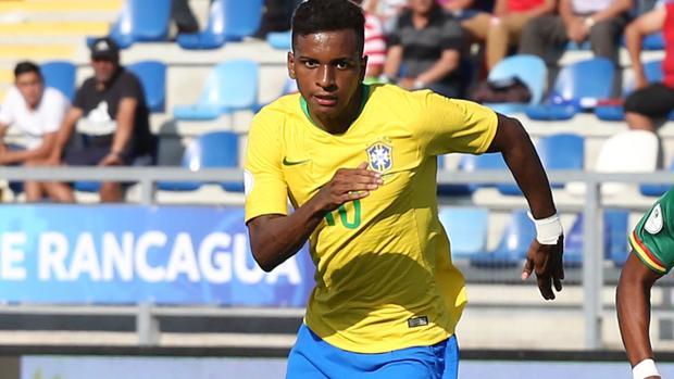Rodrygo, con la camiseta de Brasil