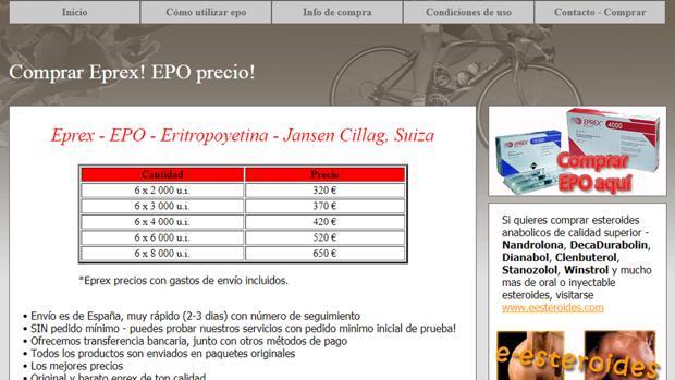 Una de las webs que ofrecen eritropoyetina.