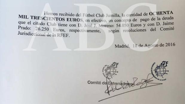 El documento que acredita el pago en metálico del Jumilla a la RFEF