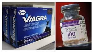 Imagen de una caja de Viagra, uno de los productos estrella de Pfizer, y una botella de Botox, de Allergan