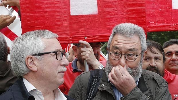 Los líderes sindicales Ignacio Fernández Toxo y Cándido Méndez